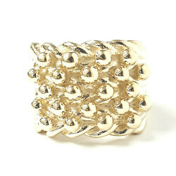 9ct Gold Menand039s Keeper Ring 5 Row Yellow Solid 29.2g Z+1 Brand New 19.9mm Wide