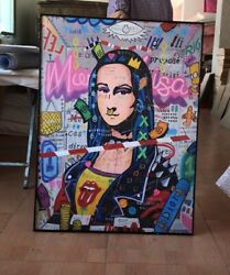 Banksy Mona Lisa Canvas Oil Painting Reproduction, Not Print, 100 Hand Painted
