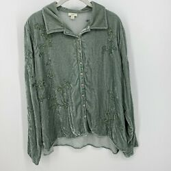 J. Jill Green Floral Embroidered Velvet Velour Button Down Size L Rayon Silk