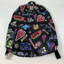 Brighton Nylon Backpack Love Come Together Graphics W/ Matching Pencil Case