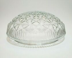Clear Diamond Cut Glass Ceiling Light Lamp Shade Globe 8 Fitter Vintage Pressed