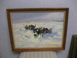 Original Vintage Oil Painting Tag Kim Listed Canadian Sled Dogs Arctic