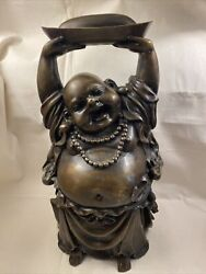 """15"""" Large Old Heavy Cast Bronze Asian Laughing Buddha Hands Above Head Statue"""