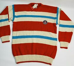 Nos Vintage 90s Izod Lacoste Small Striped Crewneck Sweater Stitched Crest