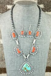 Turquoise, Coral And Sterling Silver Necklace And Earrings - Tom Lewis