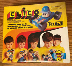 Brand New Vintage Clico Wooden Race Car Toy Set No. 3 Irwin Toy Click Snap Rare