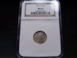 1897-s Ms64 Barber Dime Ngc Certified - White/light Gold Dust Tone