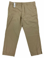 New Lacoste Chino Flat Front Twill Cotton Mens Pants Big And Tall Macaron Brown