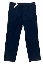 New Lacoste Chino Flat Front Twill Cotton Mens Pants Big And Tall Eclipse Blue 44