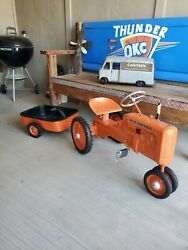 1950s Allis Chalmers Child's Toy Pedal Tractor With Trailer