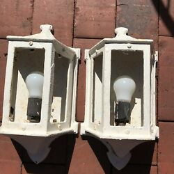 Vintage Architectural Ext. Salvage Cast Iron Pair Of 2 Old Lighting Fixtures