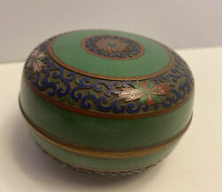 Antique Chinese Cloisonne Champleve Covered Trinket Box Blue Green