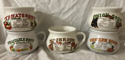 5vintage Datand039l Do-it Inc. Chicken And Vegetable Soup Ceramic Recipe Mugs/ Bowls