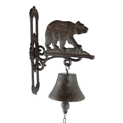 Bear Dinner Bell Cast Iron Wall Mounted Cabin Camp Antique Style Rustic Scrolls