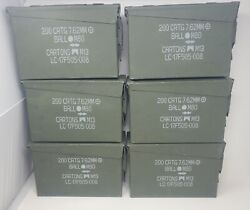 Military Ammo Metal Box Can 200 Crtg 7.62mm Nato M80 M13 Lot Of 6