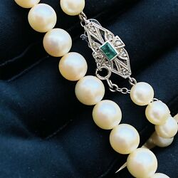 Cultured Saltwater Pearl Necklace On 9ct Gold Emerald And Diamond Clasp 18.5/47cm
