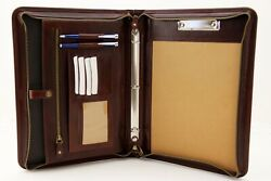 Leather Folio Ring Binder, Leather Clipboard A4, Document Holder With Storage