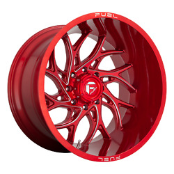 24 Inch 8x180 4 Wheels Rims 24x14 -75mm Candy Red Milled Fuel 1pc D742 Runner