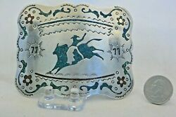 Xxl Navajo Belt Buckle 77 Rodeo Cowboy Sterling Silver Coral Turquoise Trophy