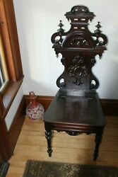 American Xix Century Antique Carved Oak Hall Chair