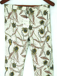 Isabel Marant New 2270 Leather White Floral Pattern Pants Size Fr 40 S Nwt