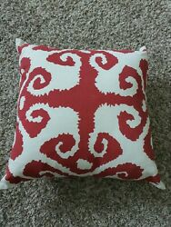 Frog Hill Designs Red Ethnic Ikat Pillow