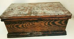 Antique 18th Century Tool Chest Wooden Box Large 23 Wide Cast Iron Handle 18 Lb
