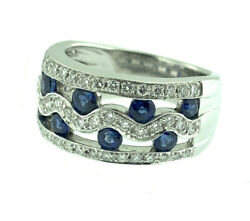 Vintage 3.0ctw Sapphire And Diamond Fine Wave Band Ring 14k White Gold Size 6.5