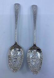 Rare Late 1700s Hester Bateman Set Of 2 Sterling Silver Serving / Berry Spoons