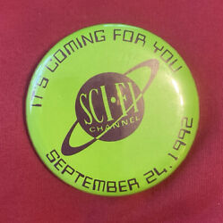 1992 Sci-fi Channel Debut Science Fiction Tv Promo Advertising Pin Button Badge
