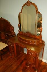 1920-30s Art Deco Carved Vanity W/ Stool And Double Sized Bed Bedroom Set