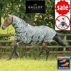 Mesh Fly Rug Zebra Print Gallop Full Neck Combo Horse Breathable Fly Rug