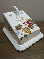 Antique Franz Anton Mehlem Covered Cheese Butter Dish C1900 Bonn Germany Leaves