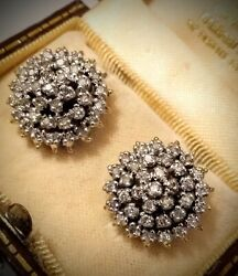 Art Deco 18ct .750 Gold, Silver And 1.8ct Diamond 4 Tier Cluster Earrings, 13.2gr.