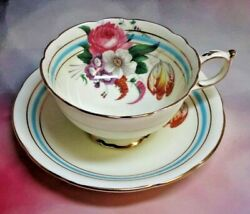 Paragon By Appointment Fine Bone China Footed Cup And Saucer - Floral Turquoise