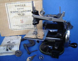 Antiquevtg Singer No.20-2 Electric Childs Sewing Machine Box And Instrsewhandy