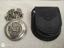 Franklin Mint-harley-davidson Pocket Watch Wings Of Glory Limited Edition Case