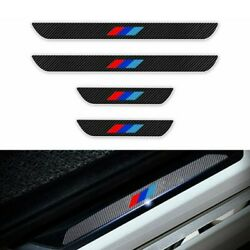 For Bmw Car Door Sill Carbon Fiber Scuff Coverentry Stickers Black 4pc