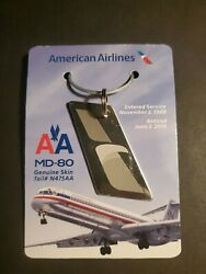 American Airlines Md80 Genuine Skin Tail N475aa 1988-2016 Commemorative Keychain