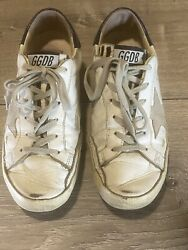 Authentic Golden Goose Superstar White Blue Pony Hair Sneakers 37