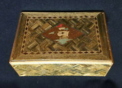 Vintage Occupied Japan Wooden Puzzle Box Dog And Sailing Ship 6 X 4 X 2.5
