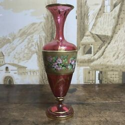 Victorian Ruby Glass Vase, Enamel Floral Band And Gilt Flowers, C.1860