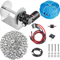 Vevor Electric Anchor Winchdrum Winch 5500lb 0.2x197and039 Rope/chain Kit Tw200