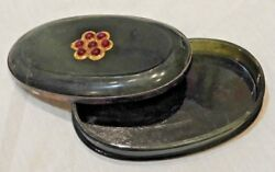 Antique Chinese Silver Mounted Oval Jade Mughal Box And Cover