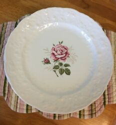 Lot 9 Steubenville Pottery Rose Point Blush Pink Dinner Plates China Off White