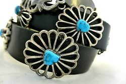 15+ozt Navajo Concho Belt Cast Sterling Silver W/11 Morenci Turquoise Buckle