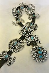 15+ozt Navajo Concho Belt 12 Pcs Tufa Cast Sterling Silver 14 Turquoise Buckle