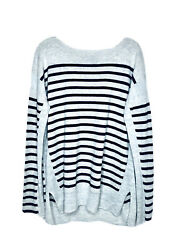 Vince Womens Gray Black Striped Boat Neck Wool Cashmere Pullover Sweater Sz L
