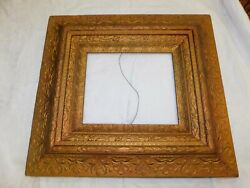 Antique Picture Frame Wood Gesso Gold Ornate 21 X 23 Outside 12 X 10 Inside