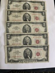 5 1963 Circulated Two Dollar Bill Red Seal